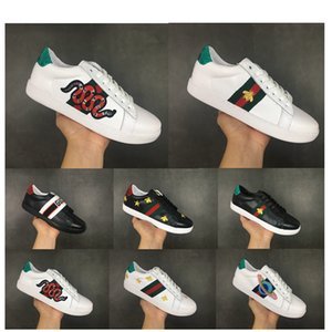 gucci Luxury brand 2019 Little Bee New Shoes Stagione donne scarpe in pelle da uomo Lace Up Platform Oversized Sole Sneakers Bianco Nero Casual Scarpe formato 36-45