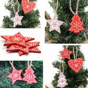 Ano Novo Árvore de madeira do ofício Decorações da árvore de Natal 2020 Natural floco de neve Madeira gota pendente enfeites para casa 2019