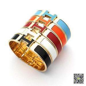 Vendita calda 316L bracciale in acciaio punk 1,2 cm di larghezza in acciaio al titanio con tutto il braccialetto smaltato per bracciale uomo e donna in taglia 5.9 * 4.8 cm PS6363
