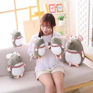 Nueva preciosa grasa gris grandes ojos de rata almohada rellena animal juguetes de peluche para los niños de las muchachas Boys Toys ratón lindo de la muñeca del regalo de cumpleaños