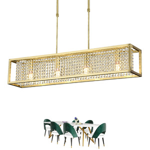 Rangcy Rectangle Dining Chandelier Lighting Luxury Modern Crystal Light Kitchen Island Hanglamp LED Cristal Lustres Lámpara colgante de oro