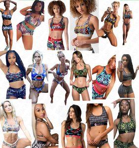17 renk Kadınlar Tasarımcı Harf baskı Mayolu Tank Yelek Üst Push Up Sütyen + Şort Swim Sandıklar 2 adet Bikini Seti Tankinis Mayo D61808