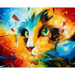 Cat Diy Painting By Numbers Animals Acrylic Coloring By Numbers Paint On Canvas Hand Painted Oil Painting For Gift