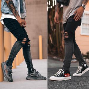 Agujeros de rodilla hombre del diseñador pantalones vaqueros lavados de la calle del estilo del color del gradiente de la cremallera lápiz de los pantalones fresco ocasional hombre de la moda de los pantalones vaqueros