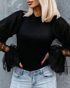 Butterfly Lace Sleeve Knitwear Sweater Women Fashion O Neck Dots Pullovers Sweaters Black White