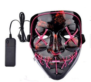 Halloween El Wire Mask Cold Light Line Ghost Horror Mask LED Party Cosplay Masquerade Dance Halloween Rave Toy Accessories