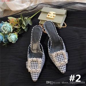 Donne più recenti di piazza diamante fibbia Sandali con tacco in seta testa a punta con motivo a spillo pantofole altezza del tacco 5,5 cm con scatola