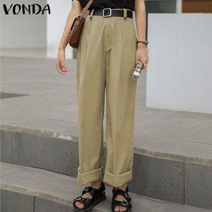 VONDA Long Pants 2020 Casual Solid Color Straight High Waist Women Pants Plus Size Bohemian Party Trousers Elegant Long