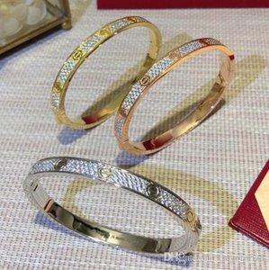 Luxury Wedding Engagement Women Bracelet Pseudo Gold Wide Edition LOVE Diamond Bangle Bracelet luxe for Designer Banquet Jewelry