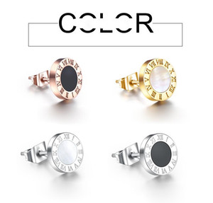 Hot luxury designer jewelry women earrings roman numeral shell earring rose gold color stainless steel mens stud earrings gift box