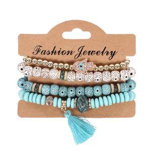 Bracelet Bangles for Women Jewelry Fashion Vintage Ethnic multilayer punk big beads Charm Bracelets Boho Statement Flower N128