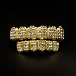 Hiphop الذهب الأسنان جريلز الرجال تشيكوسلوفاكيا الماس حجر الراين الفضة الأسنان الشوايات مجموعة رجل الأسنان الأسنان زخرفة الجسم المجوهرات بالجملة