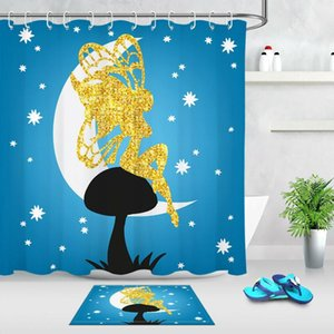 Dreamy Golden Fairy Fabric Shower Curtain Set 180CM Bath Accessories
