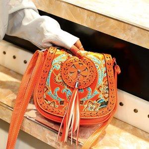 Bohemia Womens Ethnic Shoulder Bag Tassel Leather Handbag Elegant Female Fringe Square Messenger Bag Vintage Cover Crossbody