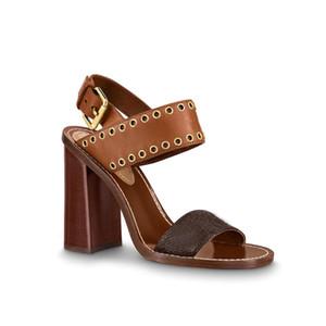 piel de becerro de las mujeres 9.5cm muchacha mujer suela marrón coñac Chunky la correa del tobillo del talón de bloques de alto hebilla de los zapatos con tachuelas de pasajeros sandalia