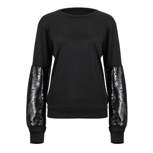 Luva Highstreet Lantejoula Colorblock completa Raglan Streetwear camisola Casual Mulheres Moletons