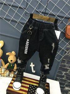 Çocuk giyimi 2018 Koreli bebek kız ve erkek çocuklar kot. Karakteri mat deliği germe pantolon 2-6years (A12035 Y200409