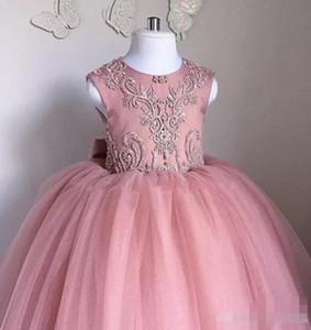 Staubige rosa blume mädchen kleider 2020 neueste tüll perlen perlen juwel neck ärmellos bodenlangen bogen kinder pageant formale tragen