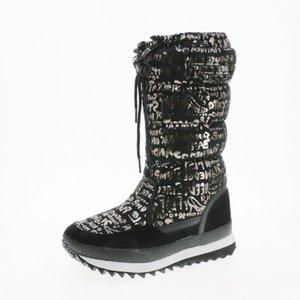 Alto estilo de los zapatos de las mujeres calientes del invierno botas para la nieve tiradores de cremallera fáciles de curling desgaste dentro de la piel de gran tamaño de exportación peso ligero suela del envío gratis