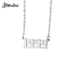 Jaymaxi 1999 Year Pendant Necklace Stainless Steel Digital 1999 Mirror Polished Women Gift Necklace 5Pieces lot