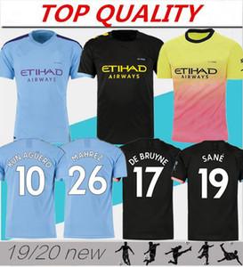 Qualidade tailandesa 19 20 KUN AGUERO Casa camisa de futebol 2019 2020 G. JESUS MAHREZ SANA SILVA DE BRUYNE CITY longe camisa de futebol Personalizado