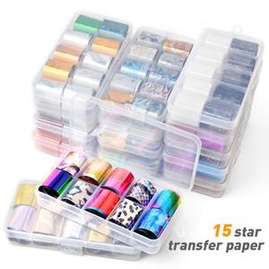 Nail holográfica lámina transparente Conjunto de transferencia de color del AB Etiqueta Decoración 2.5 * 100cm diseños de la mezcla de la manicura del arte del clavo