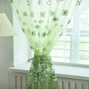 American Decorative Curtains Sheers Modern Curtains Blackout Flower Printed Tulle for Kitchen Living Room Bedroom Window Drapes