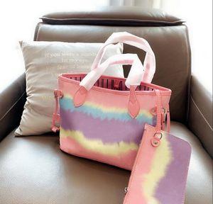 Designer Tie Dye Tote con il sacchetto di corrispondenza Retro Borsa Composite pastello sacchetto di alta qualità della signora Outdoor Leisure frizione borsa delle donne di lusso