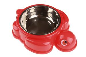 Alimentador del gato del perro de la forma 10pcs de la tortuga de agua Alimentación Comederos de acero inoxidable Comedero de silicona Mat 6 colores