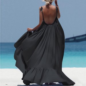 Women Boho Maxi Solid Sleeveless Long Backless Dress Evening Party Sexy vestito spiaggia beach robe plage cover up strand jurk Y200706