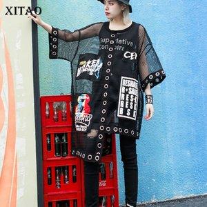 Xitao ahueca hacia fuera del empalme de la rejilla Camiseta de las mujeres del verano más Streetwear estilo coreano ropa letra de la impresión Negro neto Tops WBB3401