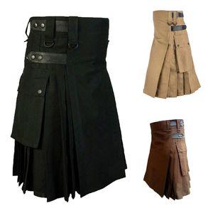 Mens Vintage-Kilt Schottland Gothic Kendo Taschen Röcke Anpassbare Hosen Scottish Kleidung gefaltete Rock-Hosen-Hose-Rock
