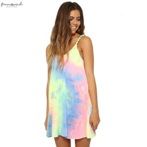 2020 Summer Women Beach Dress Tie Dye O Neck Loose Sexy Dresses Ladies Casual Elegant Mini Dress Vestidos Elbise