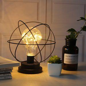 Iron Art Deco LED Bulb Table Lamps Europe Style Button USB Battery Powered Metal Night Lighting Desk Light