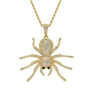 hip hop diamantes de araña collares colgantes de los hombres para las mujeres, Cristianismo joyería lujo oro chapado en cobre circones cadena de la torcedura