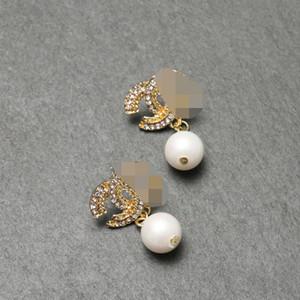Le Japon et la Corée du Sud Nouvelle Lettre avancée Boucles d'oreilles en Europe et aux Etats-Unis Mode Tempérament Diamond Pearl Pendentif Bijoux Belle