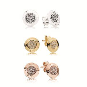 Femmes Design classique conceptrice de bijoux Boucles d'oreilles pour Pandora Argent 925 cristal de diamant Femmes dormeuses