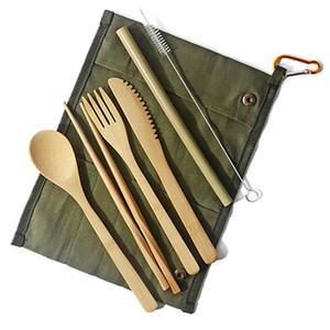 7PCS / SET Портативный набор столовых приборов с мешок Открытый Путешествие Bamboo Flatware Набор ножей Палочки Вилка Ложка столовая посуда Посуда Наборы HH9-A2540