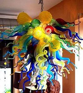 100% Boca Boca CE Lámparas Colgantes UL Borosilicato Vidrio Dale Chihuly Art Colorido Murano Lámpara de araña para techo bajo