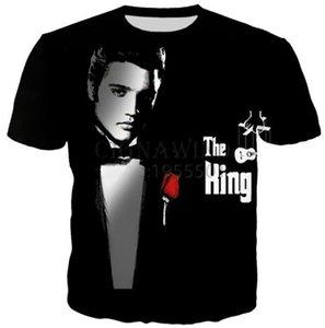 Elvis Presley 3D Baskılı Kadınlar / erkekler Günlük Kısa Kollu Tişörtler E04