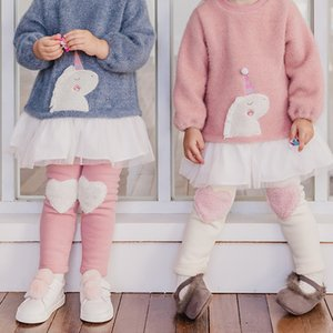XjqIa Beibeizu children's clothing winter style girl's non-velvet Tights Embroidered women's pants leggings comfortable warm cute heart embr