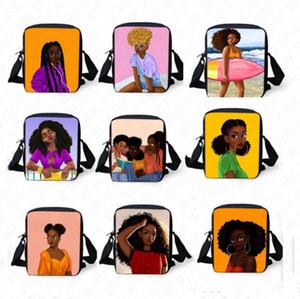 아프리카 소녀 어깨 가방 만화 인쇄 패니 크로스 바디 가방 학생 메신저 가방 토토 야외 디자이너 핸드백 D8510 어린이 성인 팩