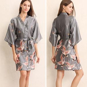 Frauen Startseite Kleidung 4 Farben Sexy V-ausschnitt Lose Hülse Kimono Druck Blume Pyjamas Robe Nachahmung Seide Nachtwäsche Mit Gürtel