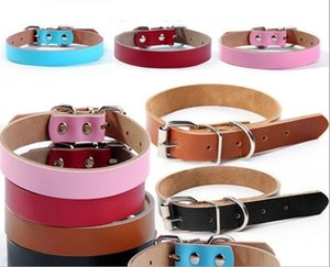 Leather Pet Dog Collar Luxury Genuine Leather Plain Pet Dog Leashes Collars Fashion Animal Necklace With 5 Sizes Free Shipping