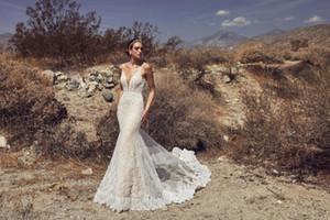 New Sexy Deep V-Wee русалка свадебные платья Calla Blanche Spaghetti Blads Black Beach Beach Wedding платье кружева Applique Vestido de Noiva