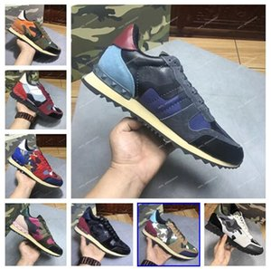 New Fashion Stud Camouflage Sneakers Shoes Footwear Men Women Flats Rockrunner Trainers Casual Shoes Sneakers chaussures