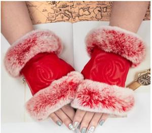 Kadınlar kış kürk Hakiki Deri Lüks orijinal moda marka eldiven Peluş yumuşak sıcak koyun Seksi sevimli Yarım parmak Dokunmatik ekran eldiven
