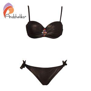 Andzhelika Bikinis sexy mujer traje de baño de diamante sólido push up bikini set traje de baño brasileño 2019 Summer Beach traje de baño Y19062901