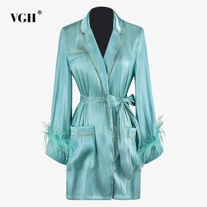 VGH Patchwork Vestes de plumes femmes Lapel Collar manches longues taille haute lacent bowknot Femme Manteaux 2019 Mode Automne