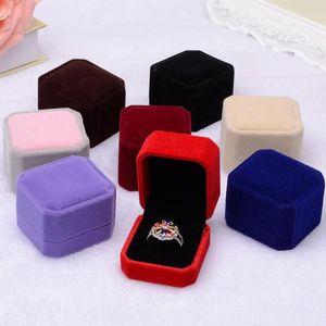 2017 nouvelle mode 10 couleur carré boîte à bijoux en velours rouge boîte gadget collier bague boucles d'oreilles boîte J015